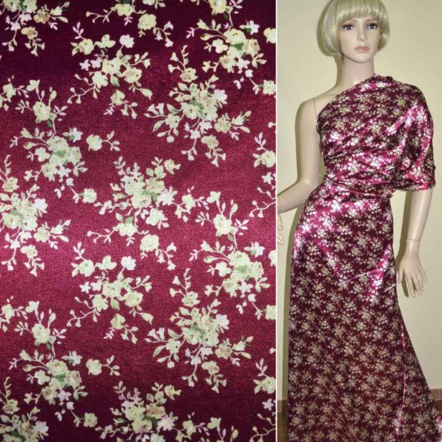 Стрейч атлас вишневый с бежевыми мелкими цветами ш.122