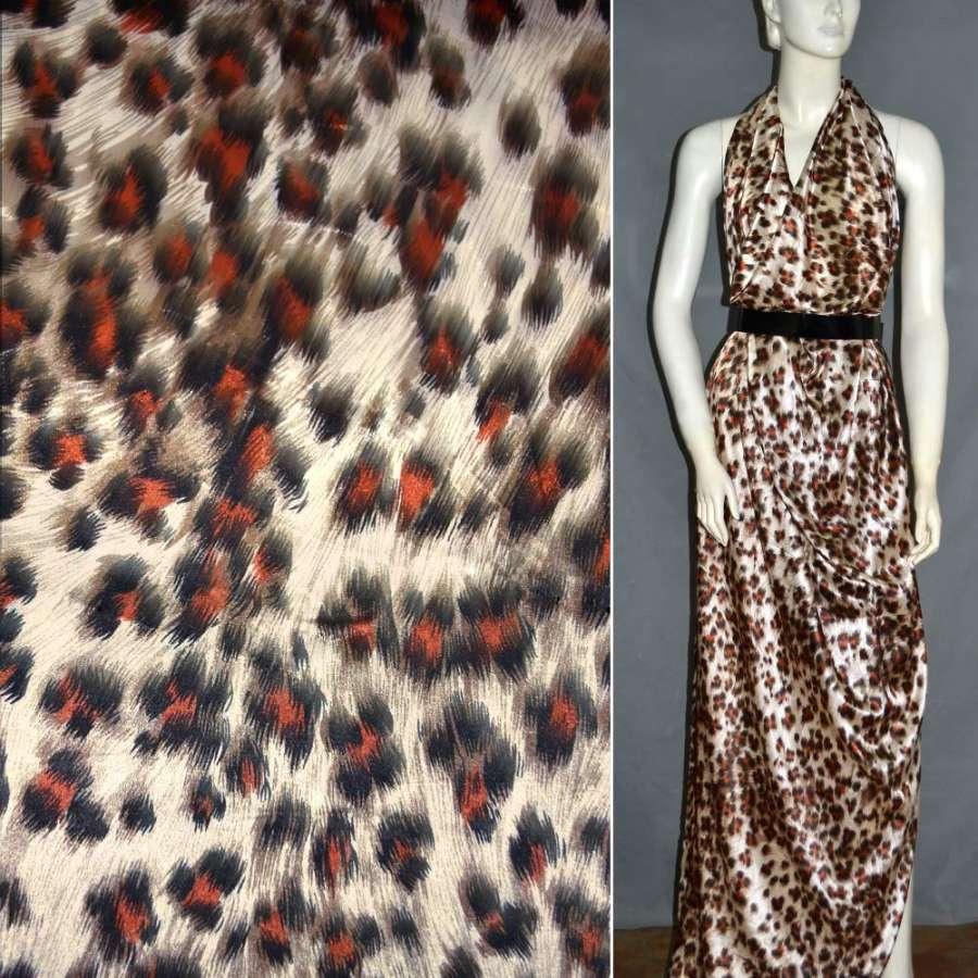 Стрейч атлас песочный+коричнево терракотовый принт леопард ш.124