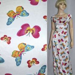Атлас стрейч белый с разноцветными бабочками ш.120