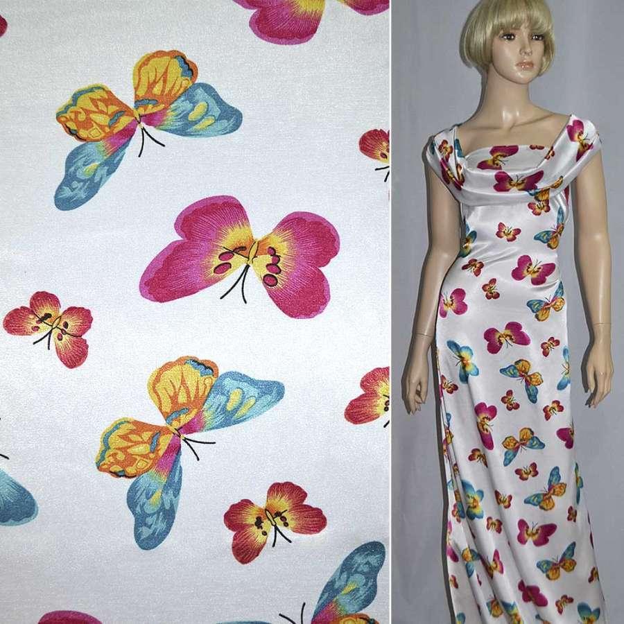 Стрейч атлас белый с разноцветными бабочками ш.120
