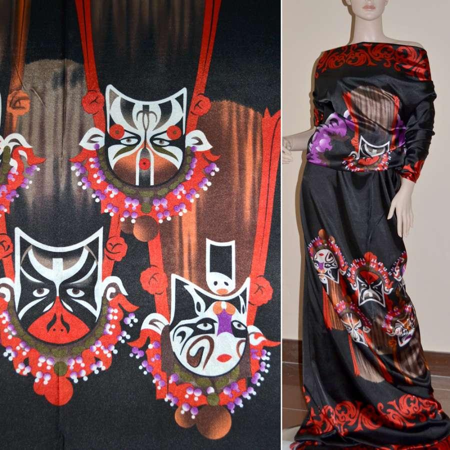 Стрейч атлас черный с красным рапорт маски ш.120