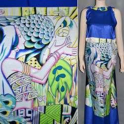 Атлас стрейч синий с салатовым раппорт девушка ш.120
