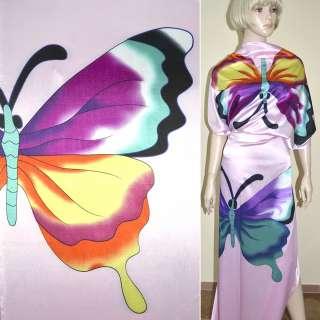 Стрейч атлас розовый с бирюзово сиреневыми бабочками ш.120