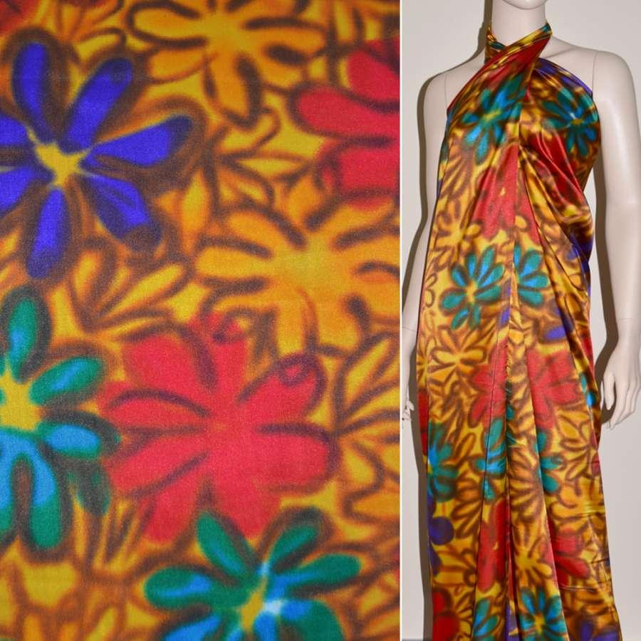 Атлас стрейч желтый фиолетово-красно-бирюзовые цветы ш.120