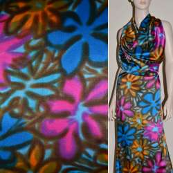 Атлас стрейч синий в розово-желто-коричневые цветы ш.120