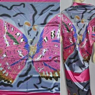 Стрейч атлас розово серый с бабочками рапорт ш.120