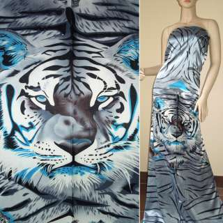 Стрейч атлас серо голубой рапорт тигры ш.120
