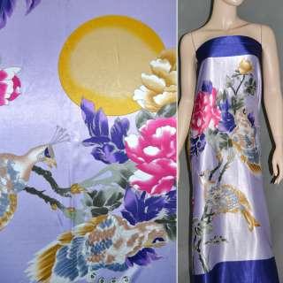 Стрейч атлас светло фиолетовый с синим рапорт попугай ш.120