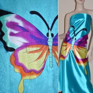 Стрейч атлас светло бирюзовый рапорт бабочки ш.120