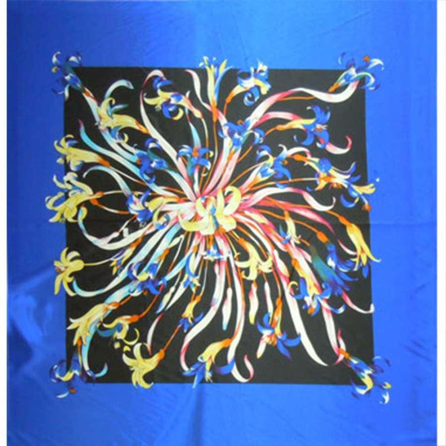 Стрейч атлас сине черный рапорт в цветы ш.120