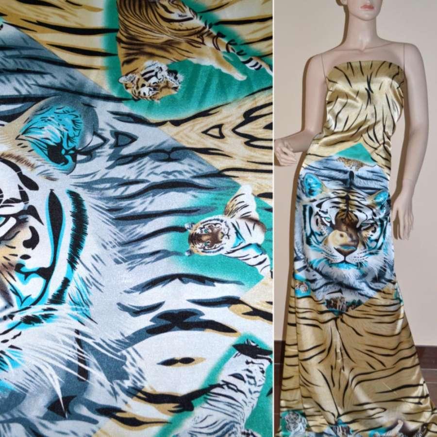 Стрейч атлас коричневый рапорт тигры ш.120