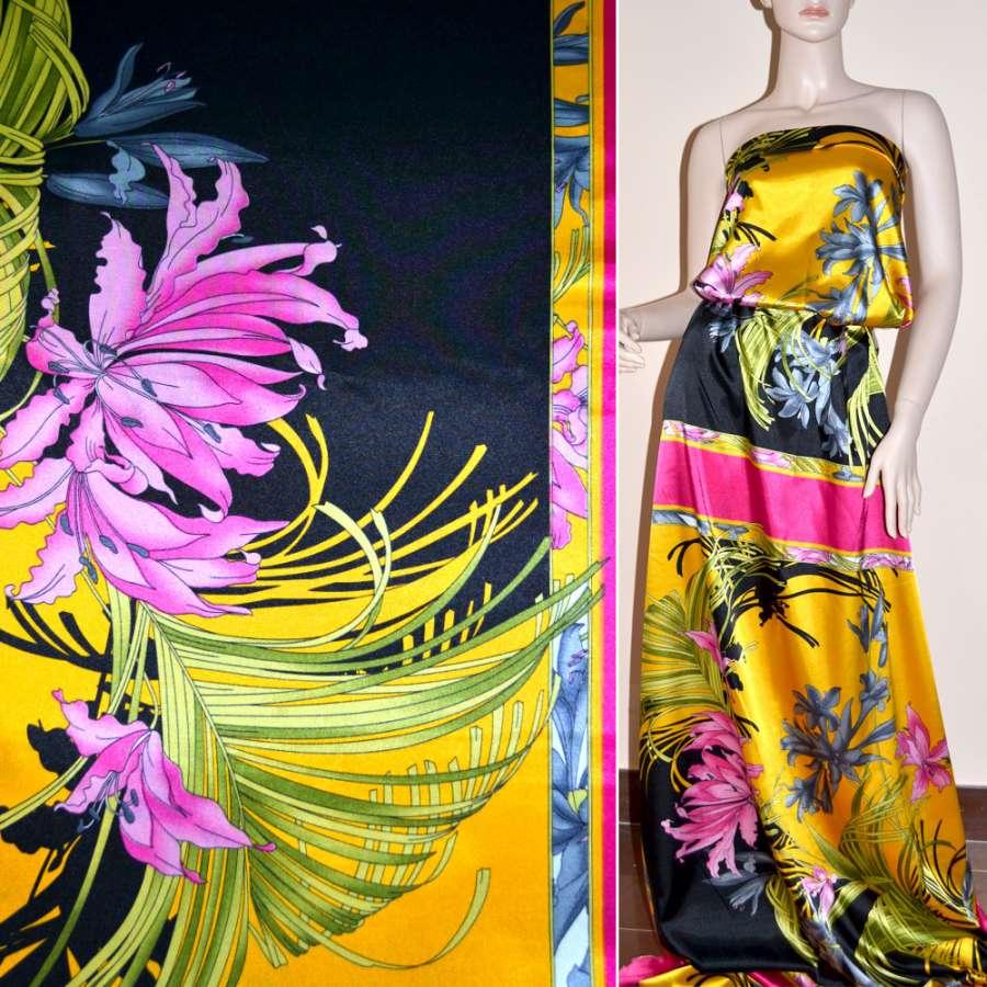 Атлас стрейч малиново-желтый раппорт в цветы ш.120