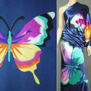 Стрейч атлас синий рапорт бабочки ш.120