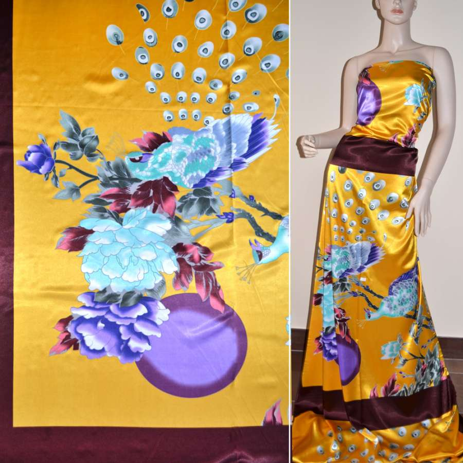 Атлас стрейч коричнево-желтый раппорт, цветы и павлин ш.120
