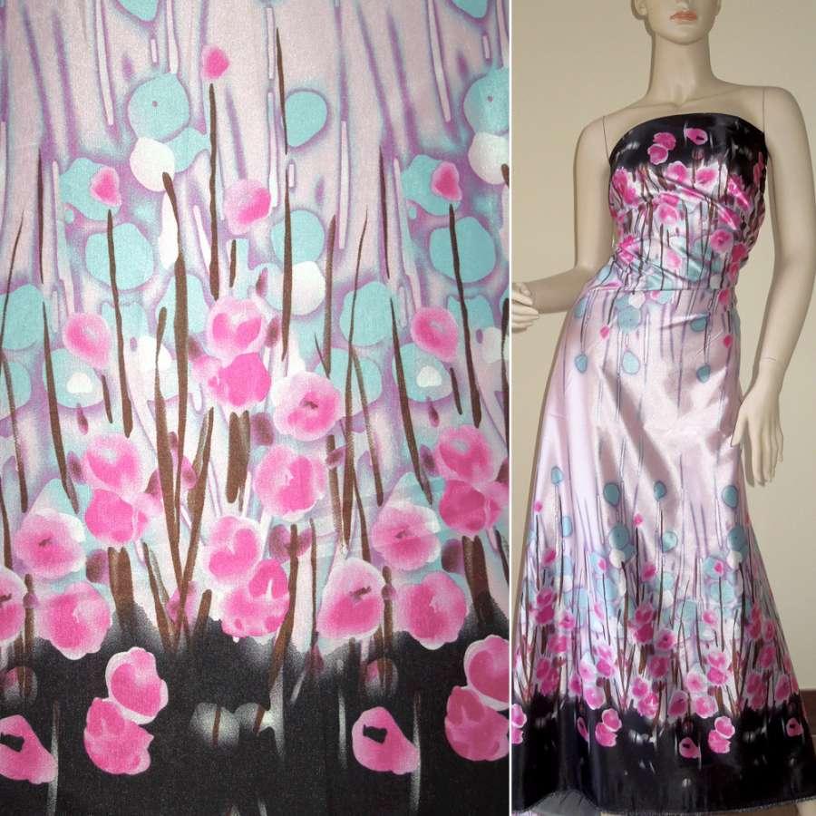 Стрейч атлас розово голубой,двухсторонний купон черный в цветы ш.150
