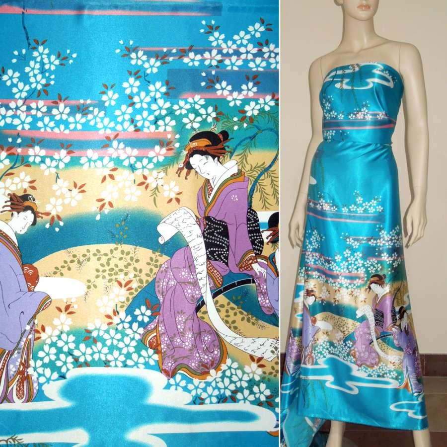 Стрейч атлас бирюзовый купон с восточными девушками ш.150