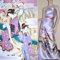 Атлас стрейч светло-фиолетов купон с восточными девушками ш.150