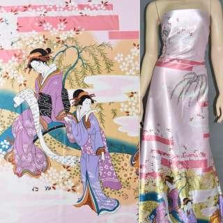 Атлас стрейч блідо-рожевий купон зі східними дівчатами ш.150