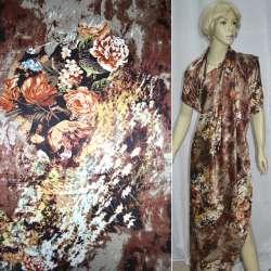 Атлас стрейч песочно-бордовый с черно-белыми цветами ш.120