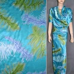 Атлас стрейч шамус яскраво-блакитний з салатним блакитними пір'ям ш.150