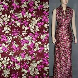 Атлас стрейч шамус бордовий з малиново-кремовими квітами ш.150