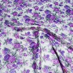 Атлас стрейч шамус белый с сиренево-фиолетовыми цветами ш.150
