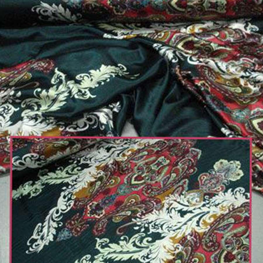 Атлас стрейч черный в красные огурцы и белые ветки ш.150