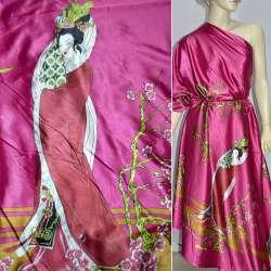 Атлас стрейч малиновый в розовые и зеленые ветки ш.150