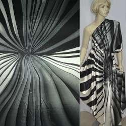 Атлас стрейч серый с белыми и черными полосами ш.150
