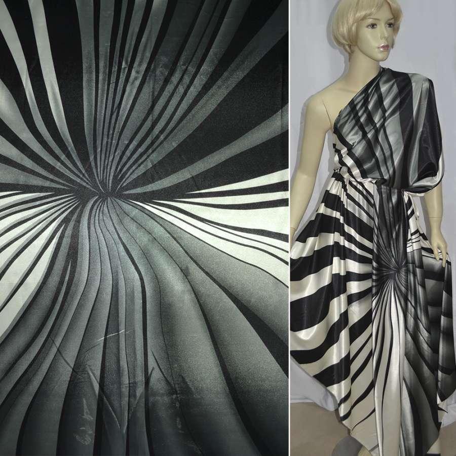 Стрейч атлас серый с белыми и черными полосами ш.150
