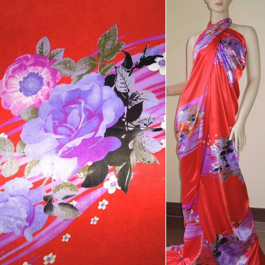 Стрейч атлас красный купон в фиолетовые полосы с цветами ш.150