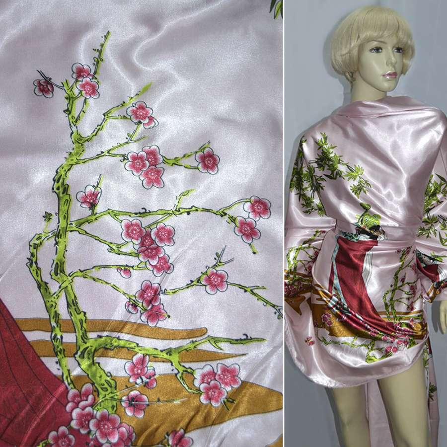 Атлас стрейч бледно-розовый с девушкой в вишневом платье ш.150