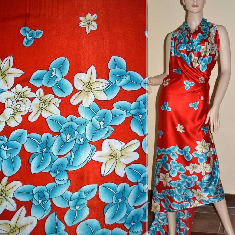 Стрейч атлас красный в голубой и бежевый цветок ш.150