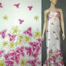 Атлас стрейч светло-бежевый в малиновые цветы ш.150