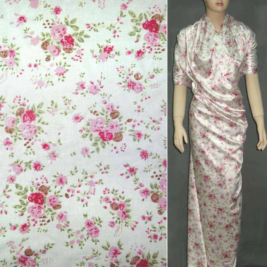 Атлас стрейч білий в дрібні рожеві квіти ш.150