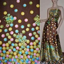 Атлас стрейч коричневый, двухсторонний купон в разноцветные круги ш.150