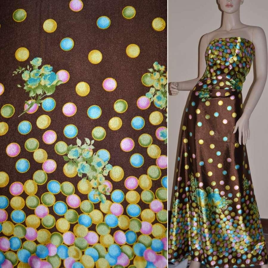 Стрейч атлас коричневый,двухсторонний купон в разноцветные круги ш.150