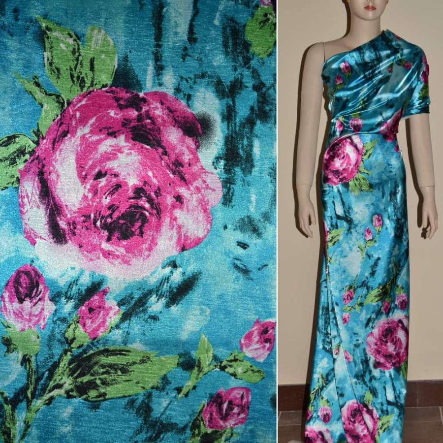 Стрейч атлас голубой с красными розами ш.150