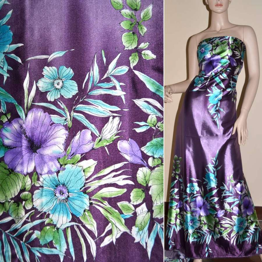 Стрейч атлас темно фиолетовый,двухсторонний купон в бирюзово фиолетовые цв