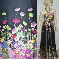 Атлас стрейч чорний, двосторонній купон в яскраві квіти ш.150