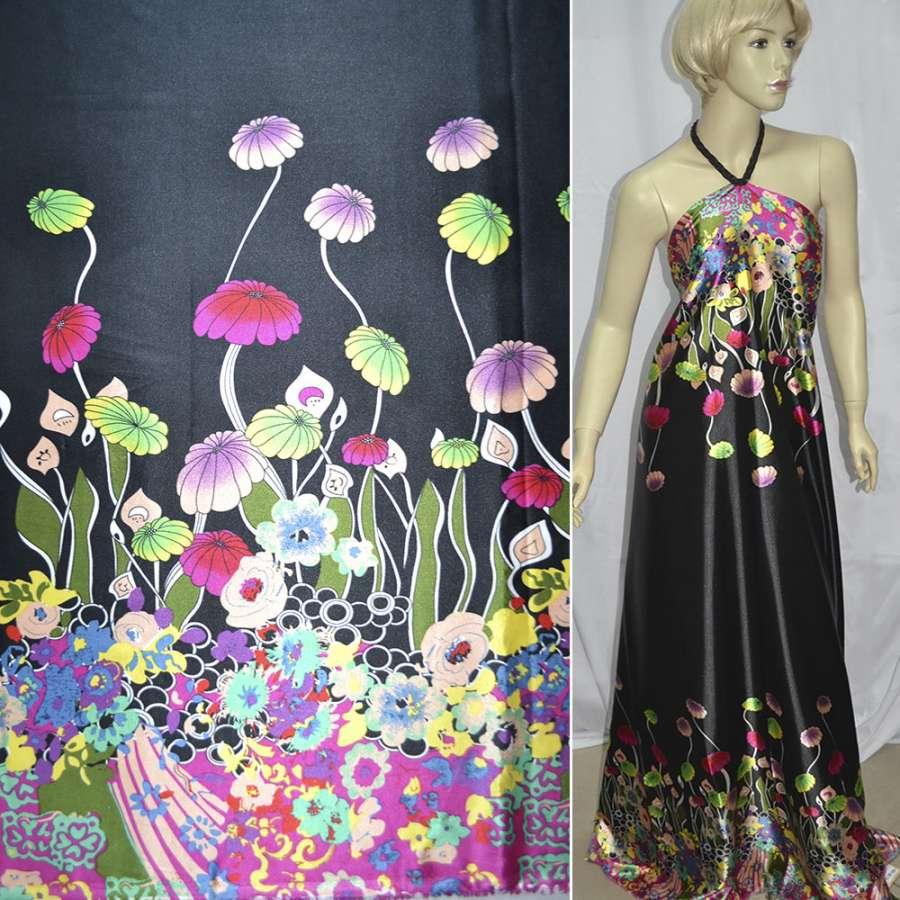 Стрейч атлас черный,двухсторонний купон в яркие цветы ш.150