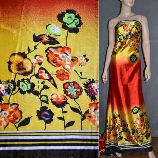 Атлас стрейч жовто-червоний, двосторонній купон в квіти ш.150