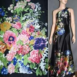 Атлас стрейч черный, двухсторонний купон в мелкие цветы ш.150