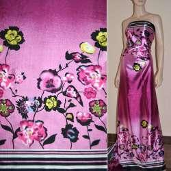 Атлас стрейч сиренево-розовый, двухсторонний купон в цветы ш.150