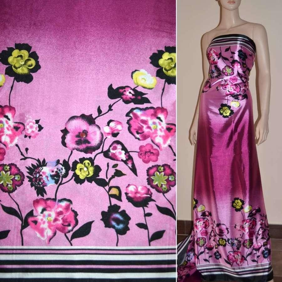 Стрейч атлас сиренево розовый,двухсторонний купон в цветы ш.150