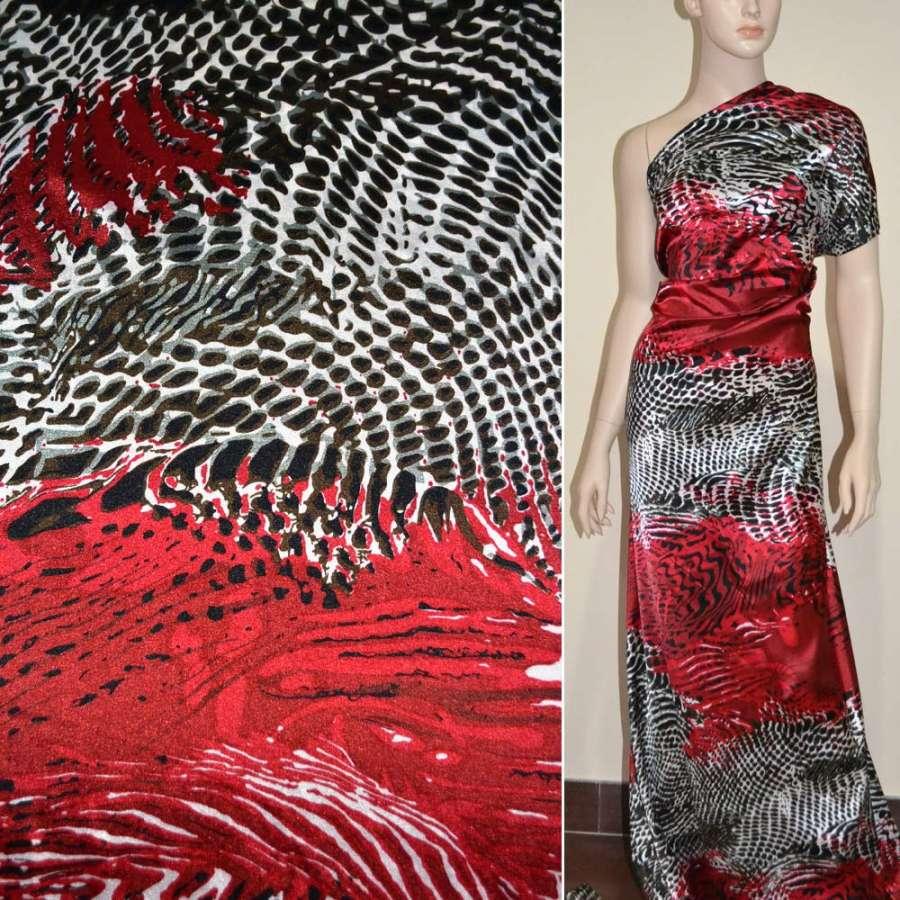 Стрейч атлас красный в коричнево серый рисунок ящерица ш.150