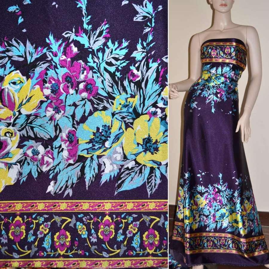 Атлас стрейч темно-фиолетовый, двухсторонний купон с абстракцией ш.150