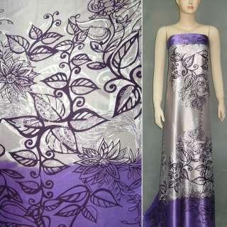 Атлас стрейч бузково-сірий, двосторонній купон в квіти ш.150