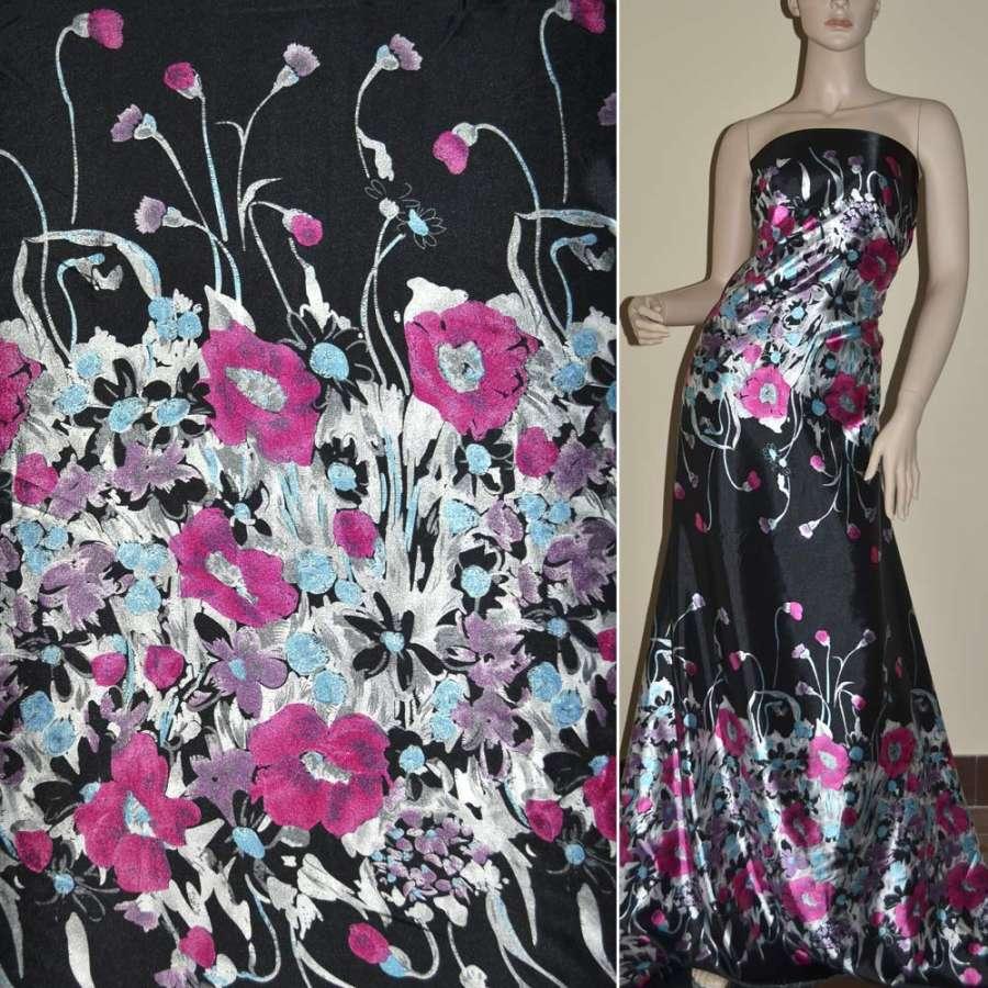 Атлас стрейч черный, двухсторонний купон в розовые голубые цветы ш.150