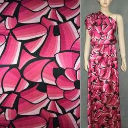 Атлас стрейч розово-малиновый с черными цветами ш.150